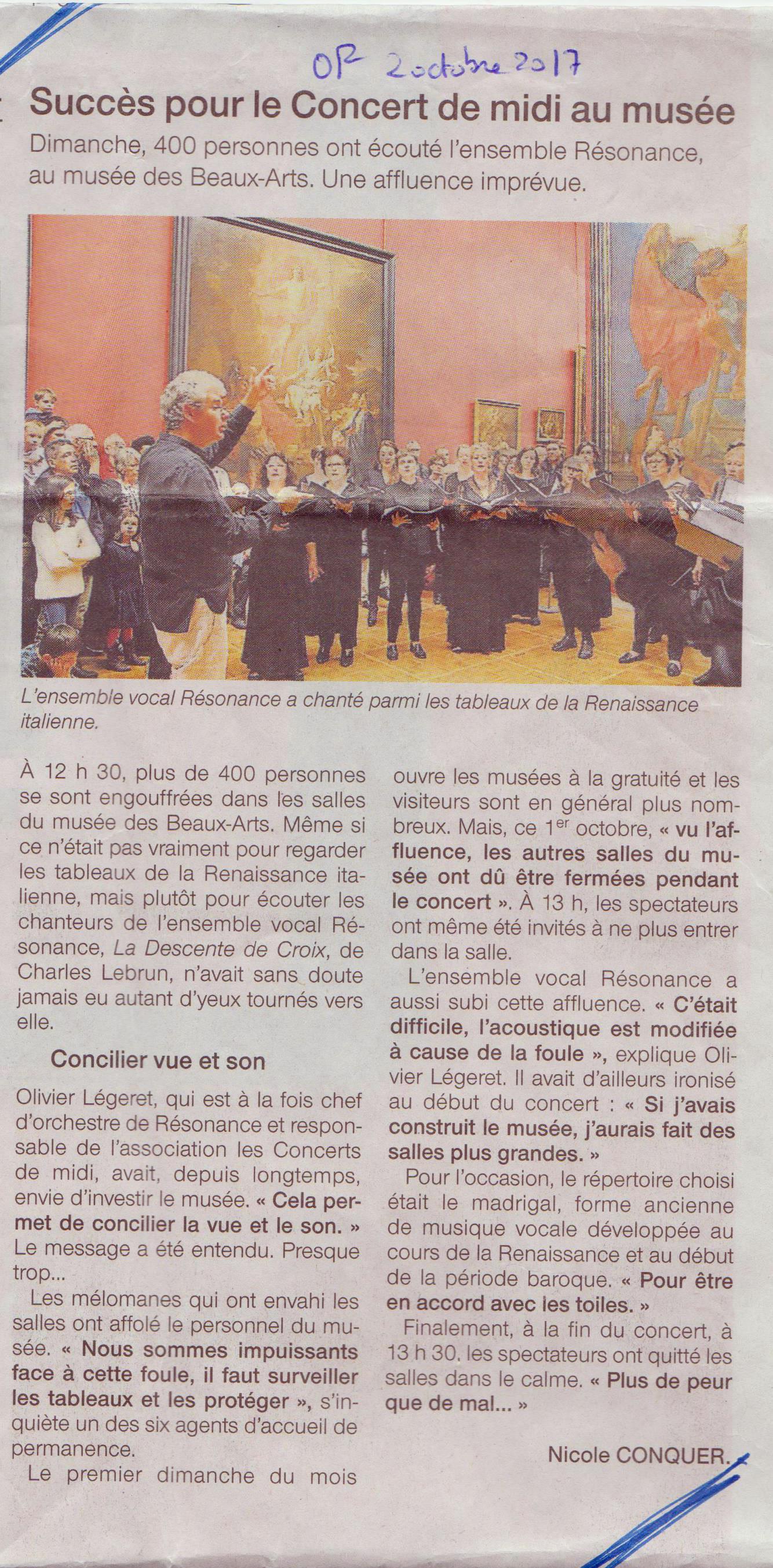 revue de presse - ouest France 2 oct 2017