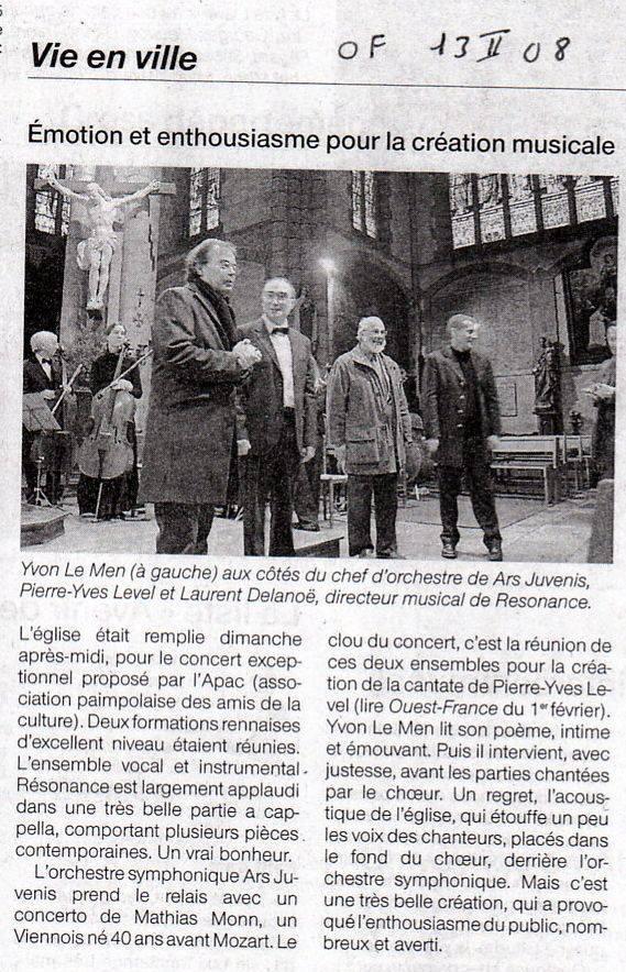 revue de presse OuestFrance13Fev2008