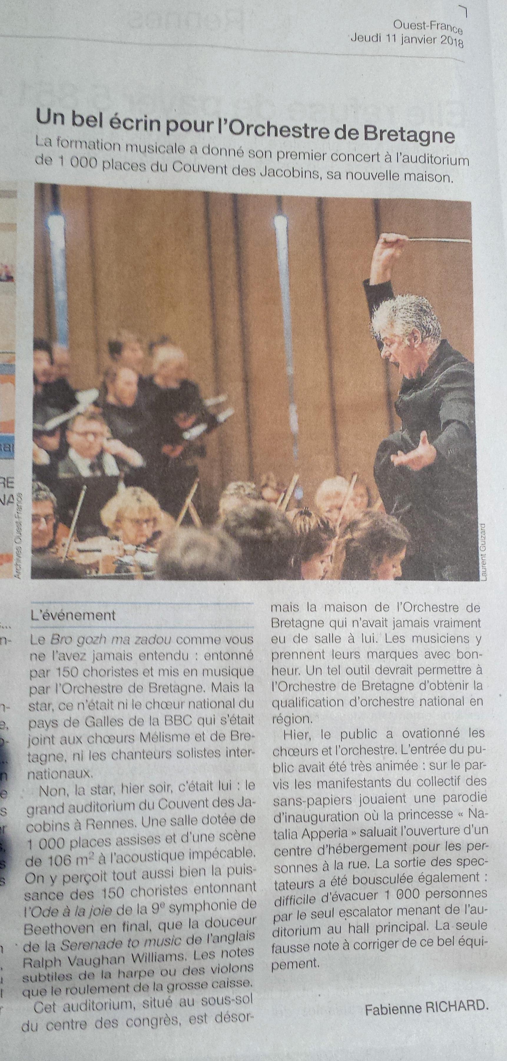 revue DE presse 2018 OuestFrance11janvier